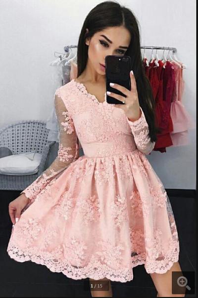 Vestido de Festa 2019 uma linha-de-rosa do laço apliques informal curtos vestidos de baile manga longa decote V meninas petite