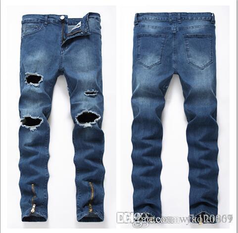 Famous Brand Designer KANYE Justin Bieber Men Jeans Fear Of God Ripped Jeans Blue Rock Star Mens Jumpsuit Designer Denim Male Pants