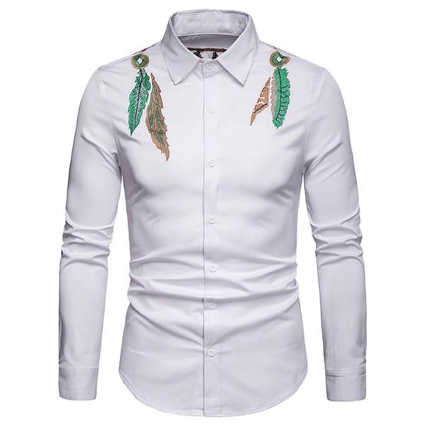 Camicia a maniche lunghe con colletto risvoltato da uomo