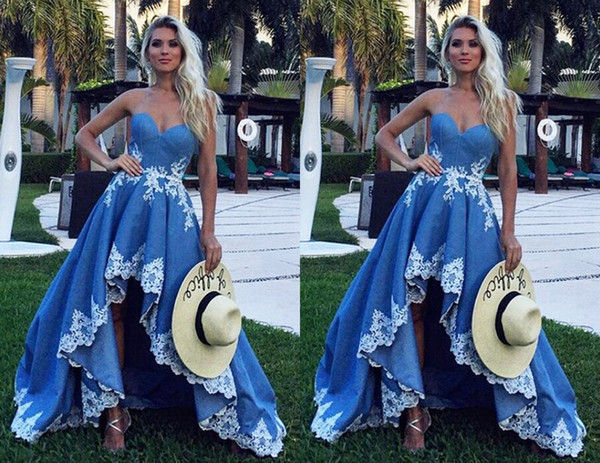 Elegant Blue White Lace 2019 Hi Low Prom Homecoming Dresses Sweetheart Applique Backless Cheap New Graduation Evening Formal Dress Cheap