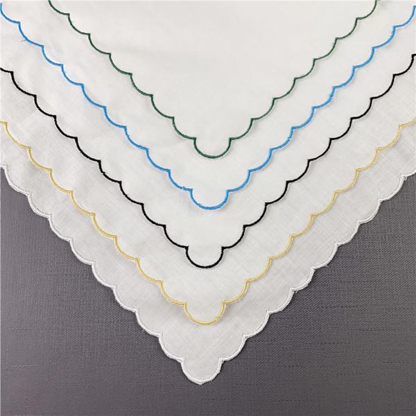 top popular Set of 12 Fshion Table Napkins 40*40 CM Dinner Napkins White Irish Linen Tea Napkins with Color Embroidery Scalloped Edges 2021