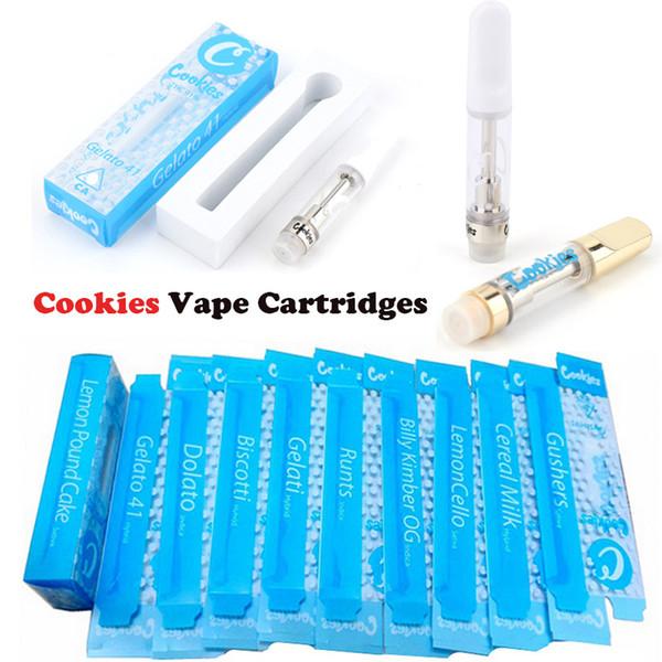 Biscoitos Carrinhos Vape Cartridge Embalagem 0,8ml 1ml 510 Ceramic tanque de vidro Vape Cartuchos Grosso Oil Dab Pen Wax Atomizador vaporizador E Cigarette