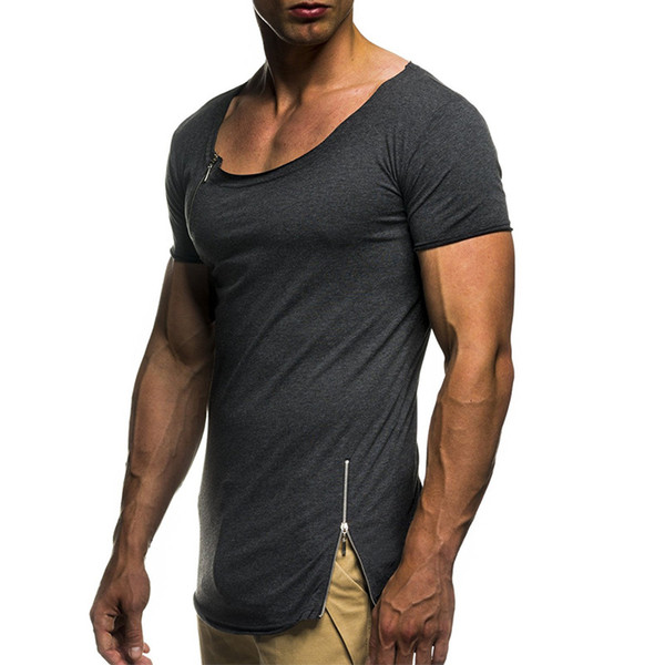 Men's Fashion Clothing Tops Dress Europe America Solid Color Round Neck Zipper Stitching Slim Short-sleeved Large Size T-shirt