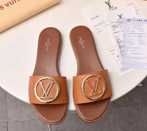 2019 Fashion Brand femmes sandales en cuir de vache à bout ouvert pantoufles occasionnels, été Designe flats Pig Nose chaussures Mocassins pompes, aucune boîte