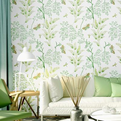 Small fresh television background wall paper art pastoral style green small broken flowers warm bedroom living room Nordic wallpaper