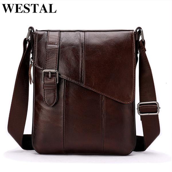 Westal hommes en cuir Messenger Bag sac à bandoulière pour hommes en cuir véritable homme à rabat Casual Male Sacs de Crossbody Pour les hommes 8240 CJ191116