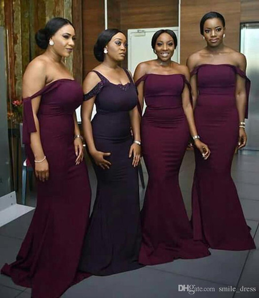 ac21b510ef6bc Sexy 2017 Burgundy Bridesmaid Dresses Mermaid Off The Shoulder African  Bridesmaid Dress Wedding Guest Dresses Wedding Party Dress SB058 Short Lace  ...