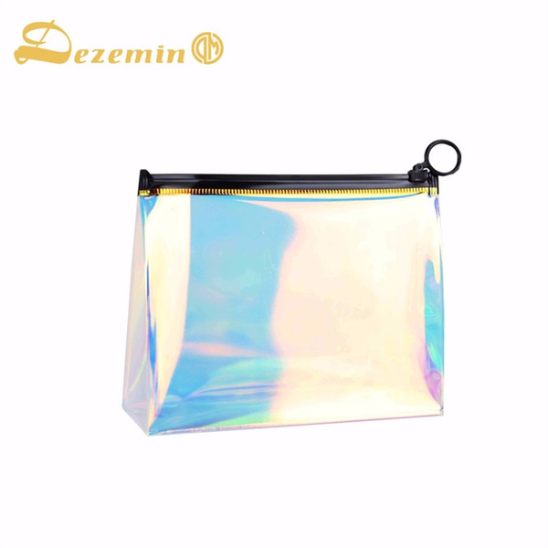 DEZEMIN Trousse da trucco TPU Holographic Clear Cosmetic Pouch Travel Organizer # 200858