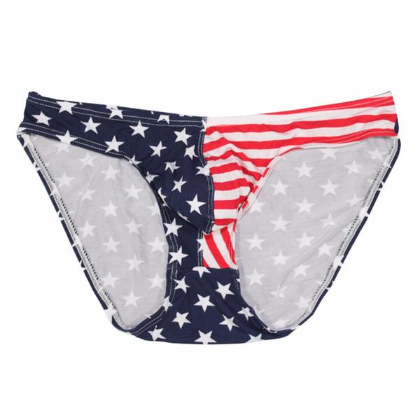 1 unid Hombres Ropa Interior Estrellas Flag Briefs Rayas Clásico Transpirable Grandes Bolsillos Sexy Tamaño Nuevas Bragas Sexy Cut Soft Briefs