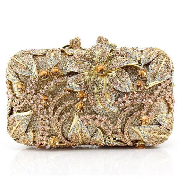 Diamond-studded banquet bag Ladies three-dimensional flower dinner clutch Full drill chain handbag Bridesmaid bag G142