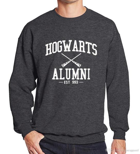 Mens Poudlard Alumni Hoodies Gris Noir Blanc Lettres Imprimer Pull Man Active Fleece Hoodies Mode