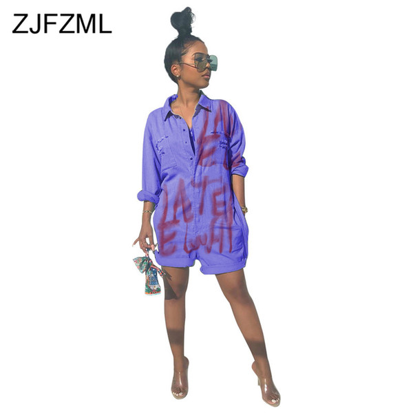 Letter Printed Causal Denim Playsuit Women Turn Down Collar Buttons Up Sexy Short Jumpsuit Vintage Pockets One Piece Bodysuits