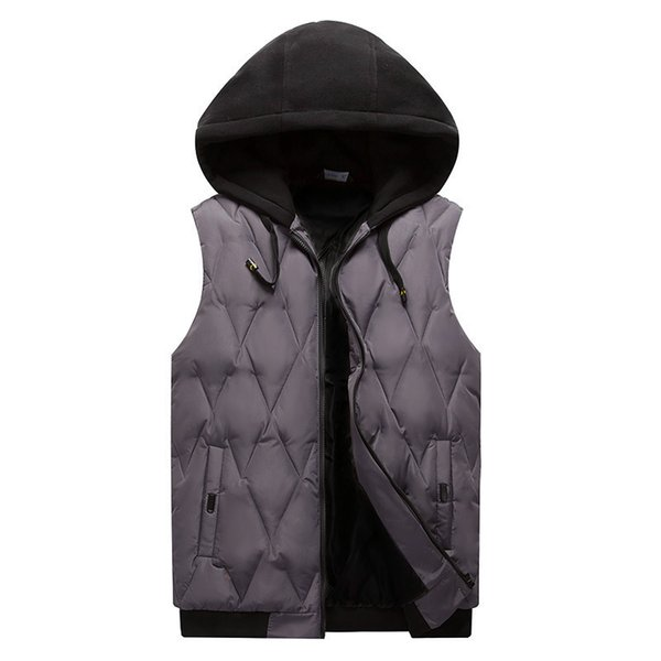 In the spring of 2019 men down cotton vest Cultivate one's morality sleeveless thickening Diamond wire hooded vest