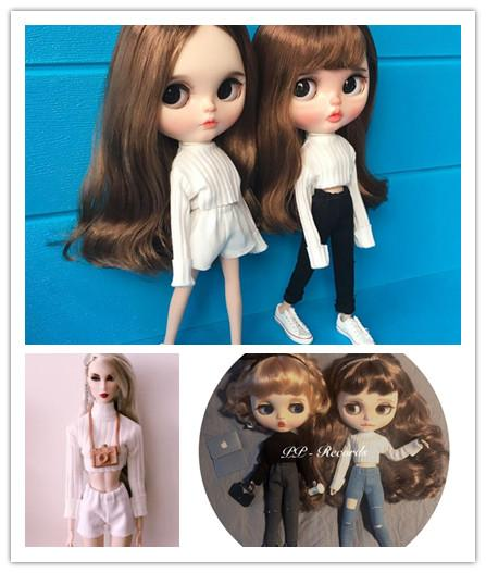2pcs/set 1/6 blyth Doll Clothing Casual Sweater+jeans/shorts for Pullip azone 30cm Blyth Girl Pants Doll Accessories for barbie