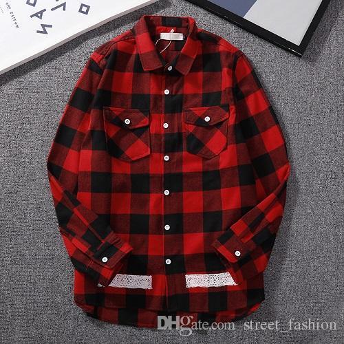 19 nouveau concepteur de marque de boîte LOGO lettre couture chemise à carreaux chemise de haute qualité en gros coton tissu, livraison gratuite