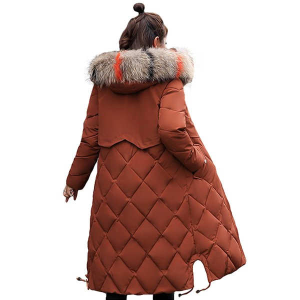 New Fashion 2019 Winter Jacket Women Colorful Big Fur Hooded Thick Down Parkas Long Female Jacket Coat Slim Warm Winter OutwearMX190907