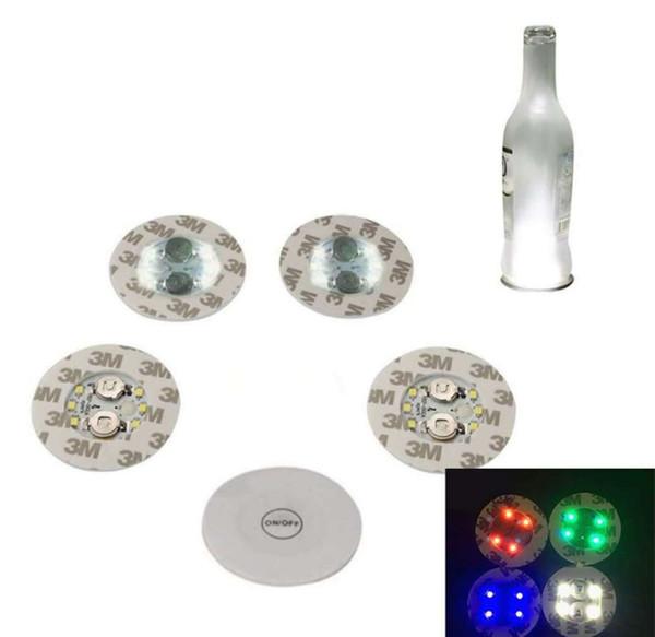 Wine Bottle Lights, 6 LEDs Sticker Coaster Discs Lights for Wine Bottle, Liquor Bottle, or Other Clear Glass Decoration for Party LLFA
