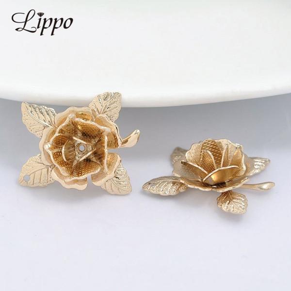 flower bead caps 20 pcs 3D Brass Rose Flower Bead Caps 24K Gold color Charm Beads DIY Making Brooch findings