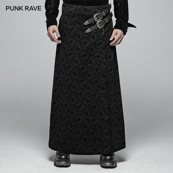 12a09231db0d8b PUNK RAVE Men's Steampunk Retro Long Skirts Fashion Black Stage Perform  Costume Personality Male Party Gothic