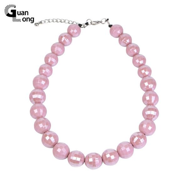 Guanlong Mode Long / personnalisés Colliers Charms Rose Vintage / collier de perles Femmes Designer Acrylique Collier Bijoux Femme