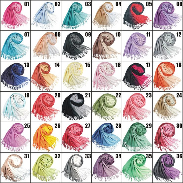 2018 36Colors Hot slae Zweifarbiger Schal aus Pashmina-Kaschmir mit festem Schal Lady Ladies Scarf mit weichen Fransen W003