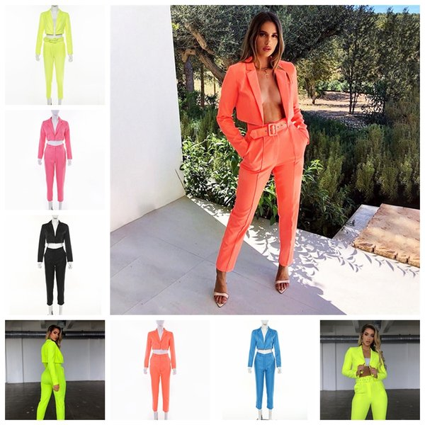 European new 2019 summer women's explosions long-sleeved short small suit mid-rise slim nine pants casual suit, support mixed batch