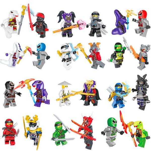 24 pcs Lot Mini Ninja Figure Toy Ninja Building Block Classic Action Figures Ghost Evil Ninja Pythor Chop'rai Mezmo Serpentine Army