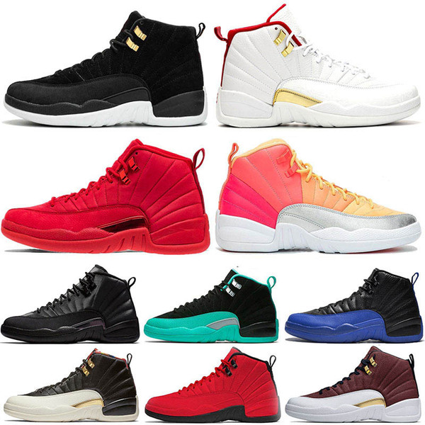 Nike Air Jordan retro 12 Winterized WNTR Spor Red Bulls Mens 12 12 s basketbol ayakkabıları Michigan Bordo Master Grip Oyunu taksi XII spor eğitmenler sneakers ...