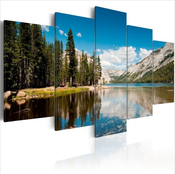 ( No Frame)5PCS/Set Abstract Alpine Lakes Landscape Art Print Frameless Canvas Painting Wall Picture Home Decoration