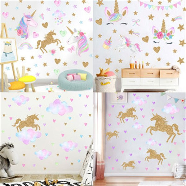 Stars Unicorn Wall Sticker For Kids Room Home Decor Baby Room Decorative  Stickers Nursery Girl Bedroom Wall Decals Sticker Mural White Wall Decals  ...