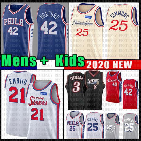 top popular Joel 21 Embiid Ben 25 Simmons Philadelphia Basketball Jersey 76ers Al 42 Horford Allen 3 Iverson Julius 6 Erving NCAA Mens Youth Kids 2019