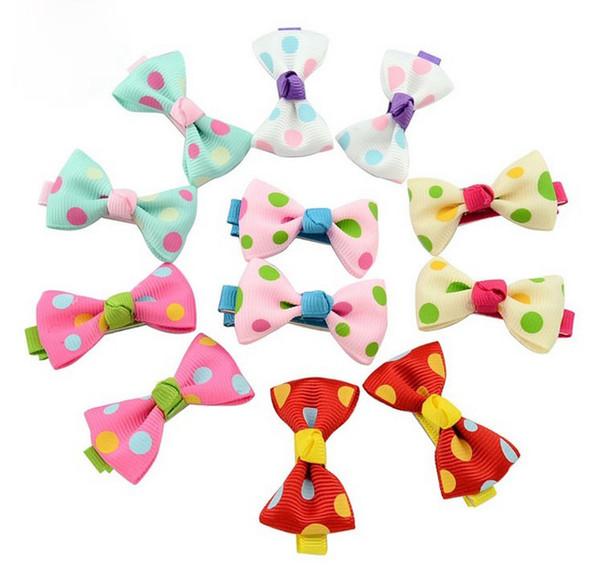 Mix Color Headbands Flower Print Ribbon Kids Hair Bow Bowknot Girl Polka Dot Duckbill Clips Children Boutique Hair Accessory Hairpin 601