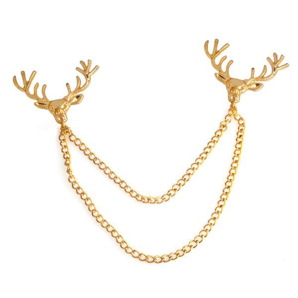 Deer Head Chain Tassel Brooch Lapel Pin Shirt Collar pin Fashion Jewelry for Women Men Will and Sandy Drop Ship