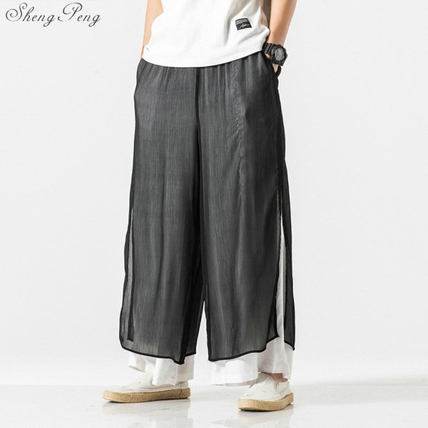 Chinese traditional  wushu pants clothing for men male linen oriental wing chun wide leg pants trousers outfits Q781
