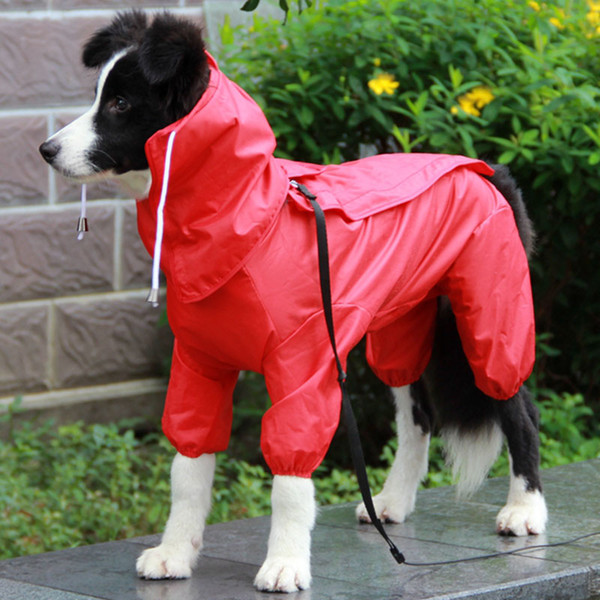 Pet Dog Raincoat Outdoor Waterproof Clothes Hooded Jumpsuit Overalls For Small Big Dogs Rain Cloak French Bulldog Labrador