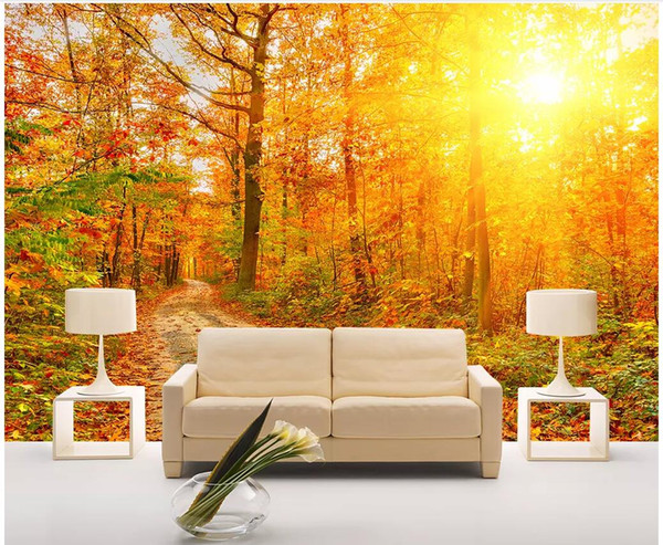 3d wallpaper custom photo mural Afternoon sun shines on the deep forest TV background wall Home decor living room wallpaper for walls 3 d