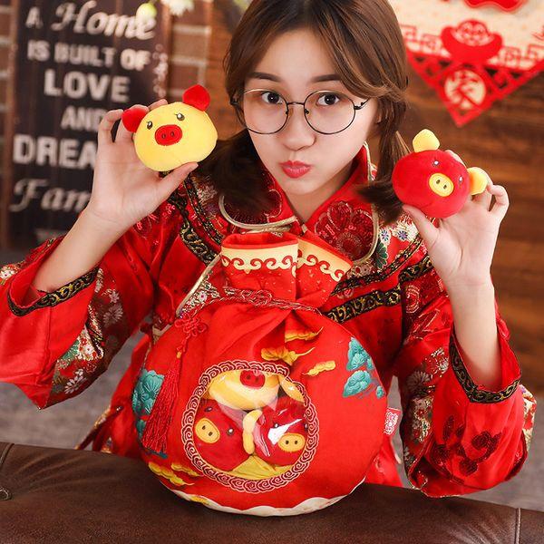 Simpatico Sacchetto Fortunato Maiale Peluche Animali di Peluche Zodiaco Maiale Benedizione Borse Piggy Festive Maialino Bambole Cina 2019 Regali di Capodanno