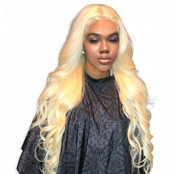 Mongolian Body Wave Full Lace Human Hair Wigs with Baby Hair Pre Plucked Lace Front Wig Glueless Blonde wig 8-26 inch Ping