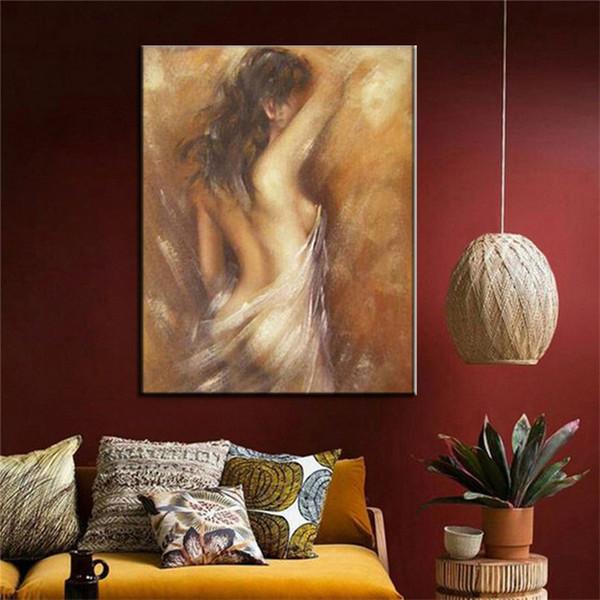 Купающаяся женщина холст для живописи ручной росписью ретро старинные ню картины специальные стены искусства подарок для украшения дома голая картина