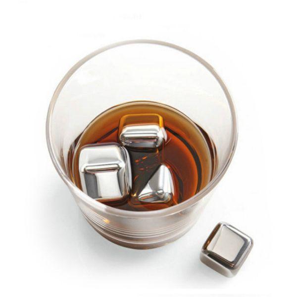 Lo nuevo 4PCS nuevos cubos de hielo más fresco del whisky de acero inoxidable piedras de hielo del whisky para las ventas de vino Whisky Beer Bar boda caliente casa regalo