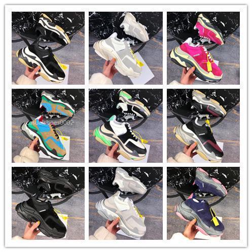 2019 Lüks Üçlü S Tasarımcı 17 Renkler Yeni Baba Spor Ayakkabıları Kombinasyon Ayakkabı Erkek Giyim Moda Günlük Ayakkabılar Üst Kalite 36-45 Boyut
