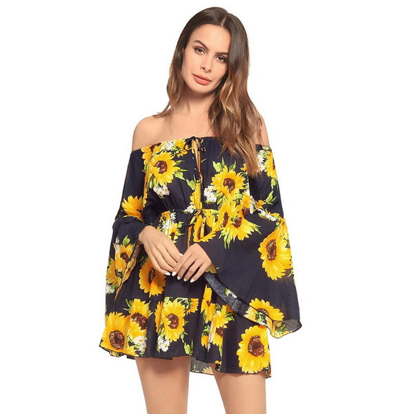 best selling Vacation Floral Print Summer Women 2019 Slash Neck Flare Sleeve A Line Beach Bohemian Casual Boho Mini Dress C19041101