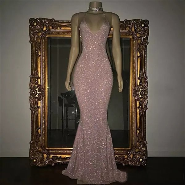 Sparkle Rose Pink Sequined Wedding Dresses Sexy Spaghetti Straps Mermaid Sleeveless Formal Party Pageant Gowns