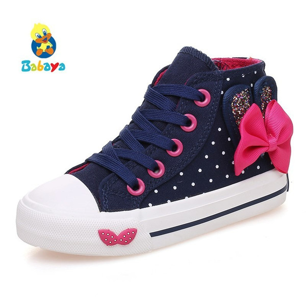 Children canvas shoes Girls shoes Bowknot Polka Dot 2017 Spring Autumn Kids shoes girls high lace-up Girls casual