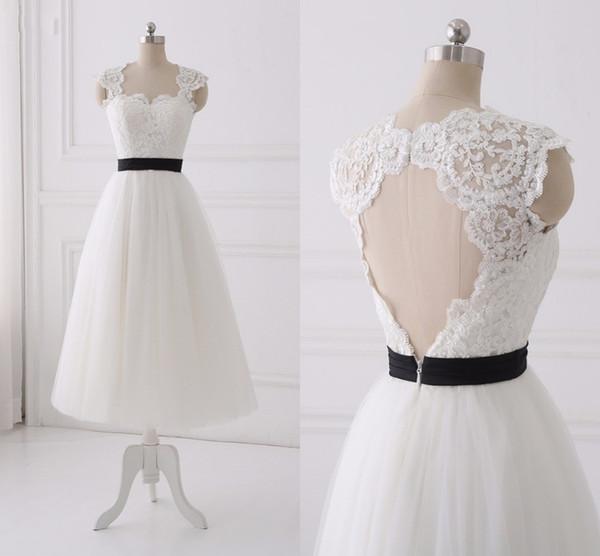 Classic Black Ribbon Tea Lenght Wedding Dresses Cheap Bridal Gowns A line Tulle Keyhole Back Applique Sequins Beaded Cap Short Sleeves