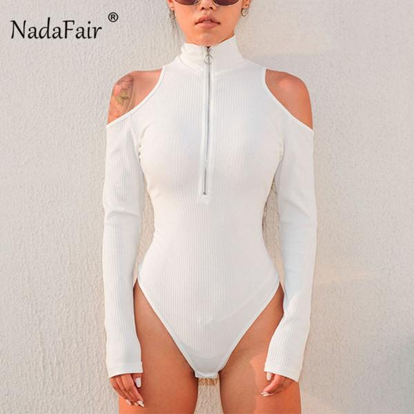 Nadafair Body de cuello alto acanalado ahuecado Mujeres Body de manga larga Mujer 2019 Cremallera flaca Body negro