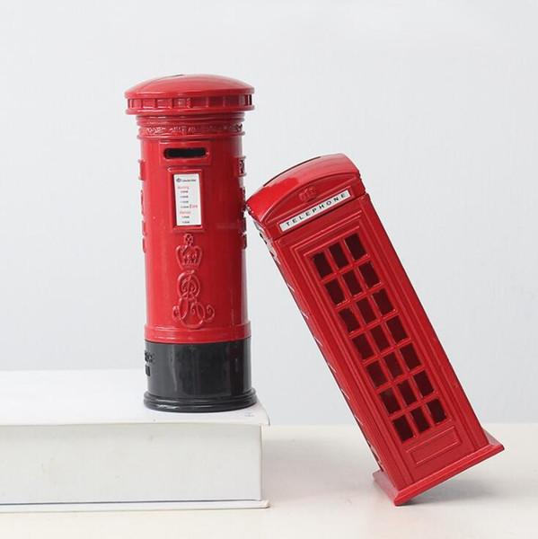 Creative London Modelo de teléfono Piggy Bank Retro Artesanía Caja de dinero Metal rojo Ahorre dinero Moneda Piggy Bank Decoración del hogar Recuerdo