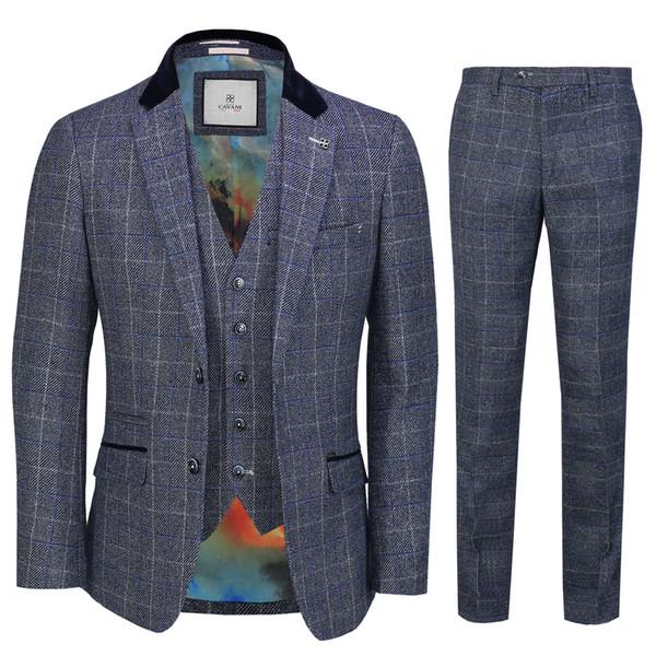Mens 3 Piece Suit Tweed Vérifier Marine Bleu Rétro années 1920 Peaky Blinder Vintage Style Meilleur Costumes Homme (Veste + Pantalon + Gilet) Vente Chaude