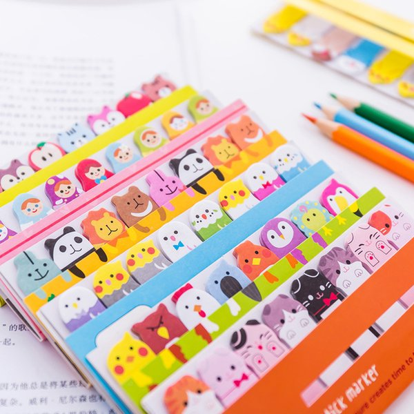 Kawaii Memo Pad закладки Творческий Cute Индекс животных Sticky Notes Опубликовано It Planner Канцтовары Школьные принадлежности Бумага наклейки