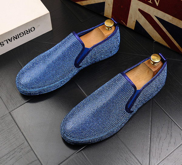 New Trendy Men's luxury Designer glitter rhinestone Casual flats High tops Shoes moccasins skateboard Hip-hop crystal Shoes